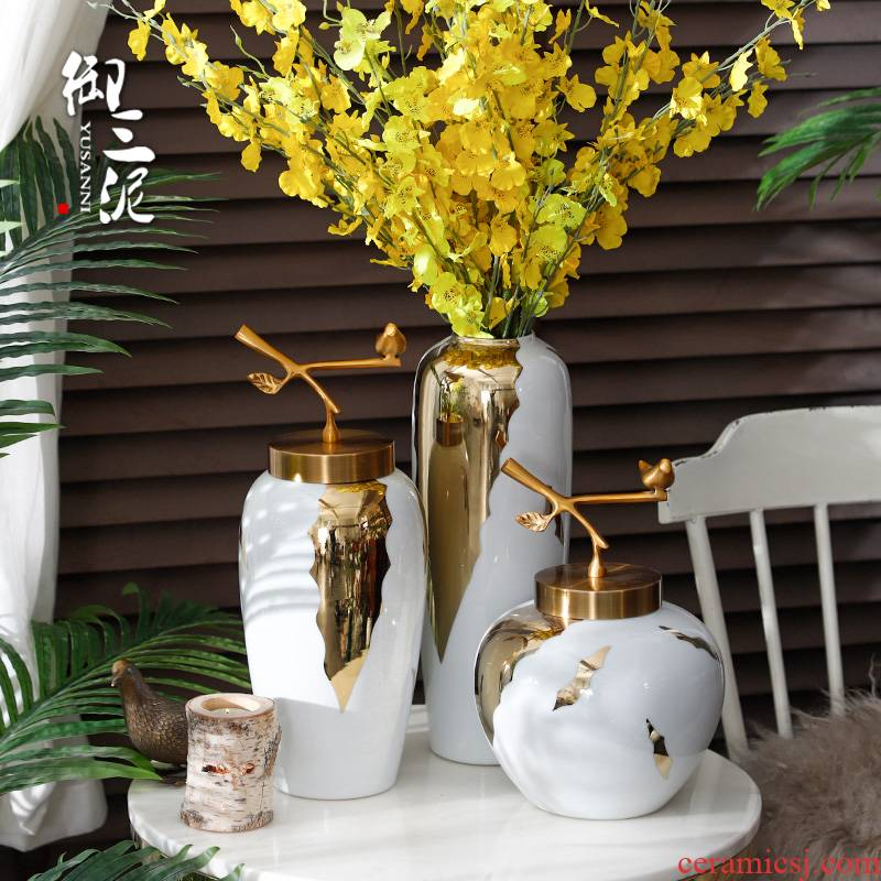 Nordic white ceramic vase furnishing articles I and contracted sitting room Chinese flower arranging dried flower flower implement household soft adornment