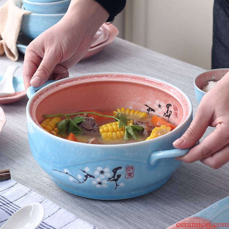 Jingdezhen ceramic ipads China household ears large soup pot boil soup bowl with cover soup basin Japanese - style tableware ideas