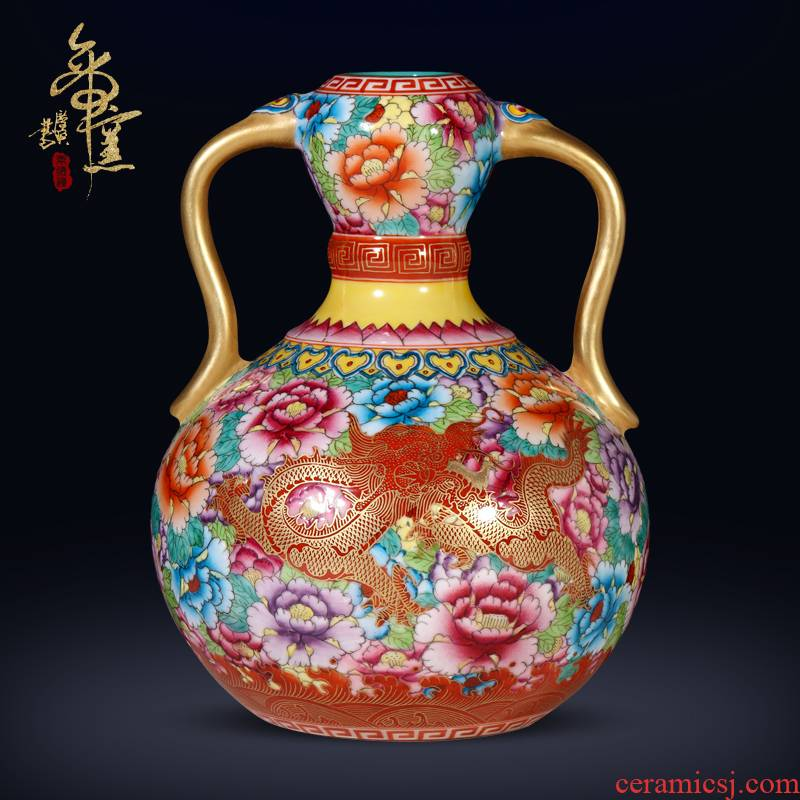 The Qing qianlong hand - made dragon and wear Chinese style flower ruyi bottles of jingdezhen ceramics sitting room porch decorate furnishing articles