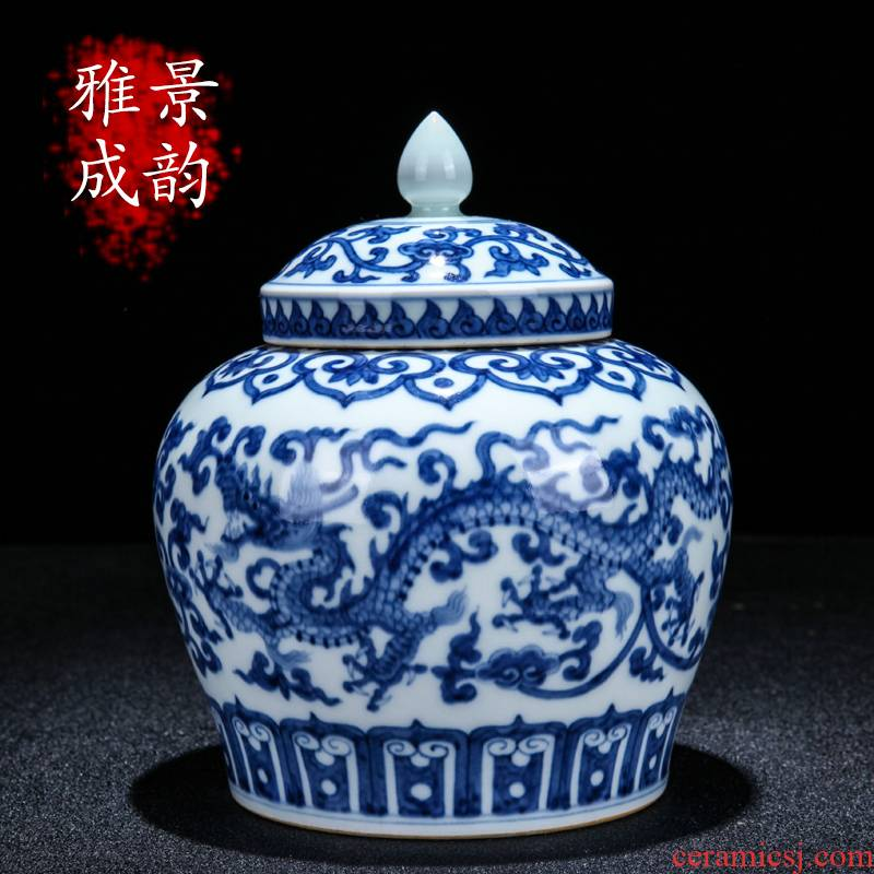 Jingdezhen ceramic modern blue and white dragon day word can of household contracted and maintain the sitting room tea table decoration furnishing articles