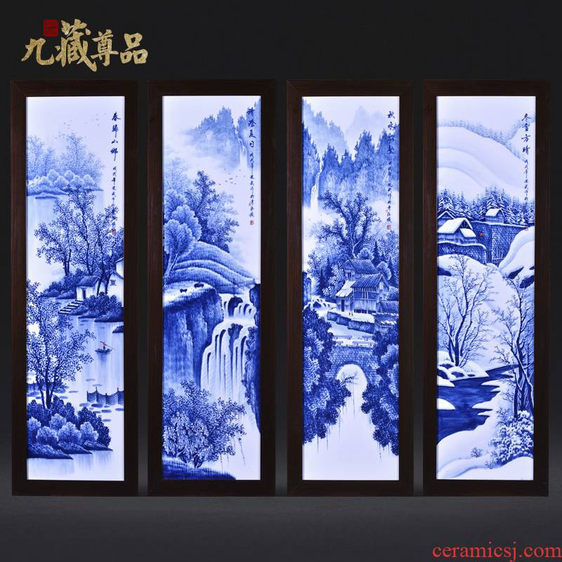Jingdezhen ceramics Liu Shuwu hand - made porcelain plate spring, summer, autumn and winter four screen painting the sitting room adornment household furnishing articles