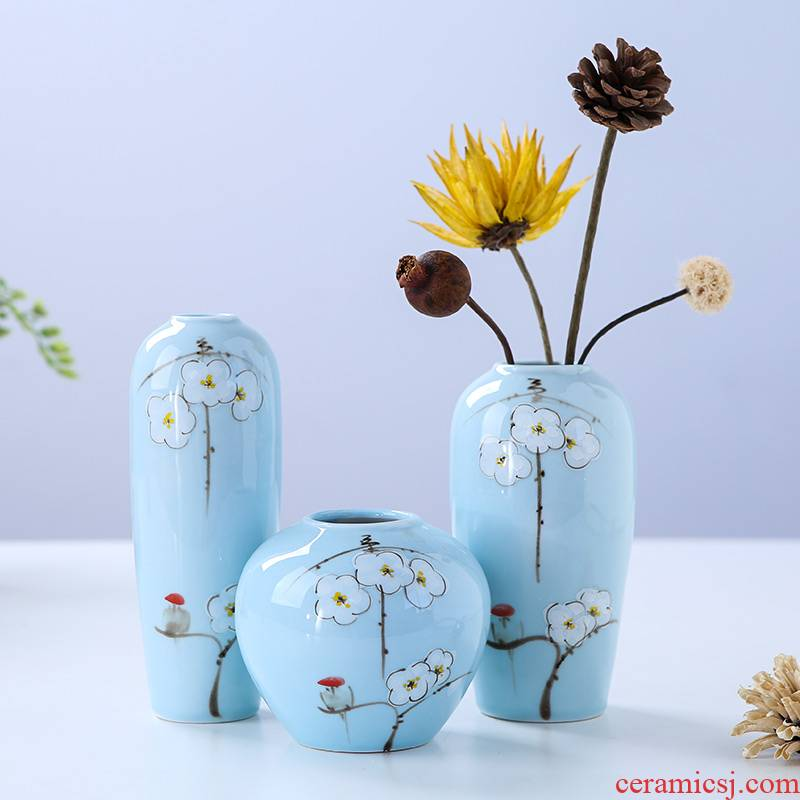 Jingdezhen ceramic vase furnishing articles three - piece sitting room flower arranging new Chinese I creative contracted household ornaments