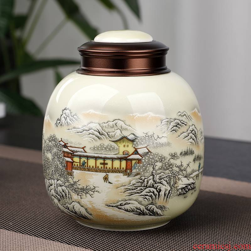The west lake longjing tea pot ceramic seal pot metal cover storage POTS small jingdezhen tea, green tea
