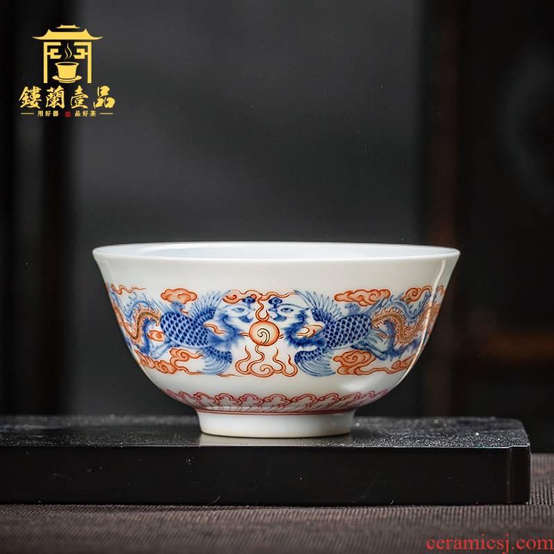 Jingdezhen ceramic all hand tea bowl is blue and white enamel phoenix sample tea cup master cup single CPU kung fu tea cups