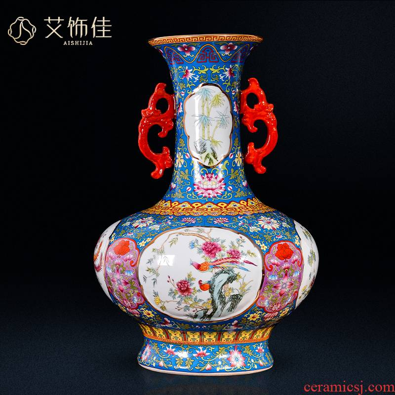 Jingdezhen ceramics archaize ears enamel vase furnishing articles collection of adornment of Chinese style living room a study arts and crafts