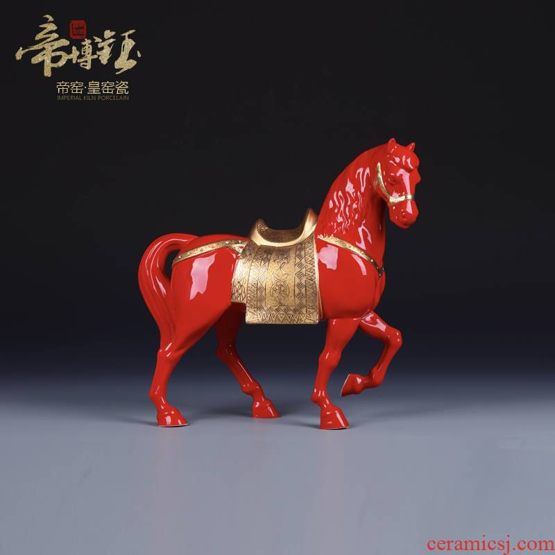 Jingdezhen ceramic hand - made with gold China red success furnishing articles of handicraft office feng shui plutus sitting room