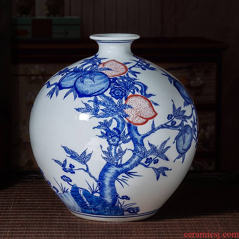 Jingdezhen ceramic floret bottle arranging flowers sitting room of Chinese style restoring ancient ways antique blue - and - white youligong nine peach ornament furnishing articles