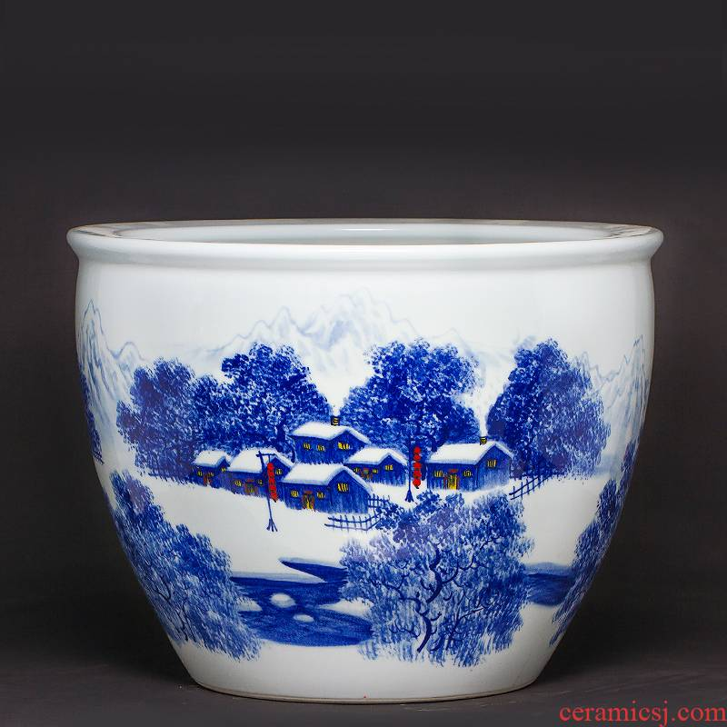 Jingdezhen ceramics aquariums large antique blue - and - white hand - made scenery household is suing big lotus lotus basin