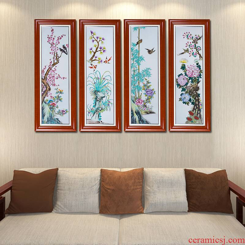 Jingdezhen ceramic hand - made by patterns porcelain plate painting Chinese wind sitting room adornment study four screens that hang a picture