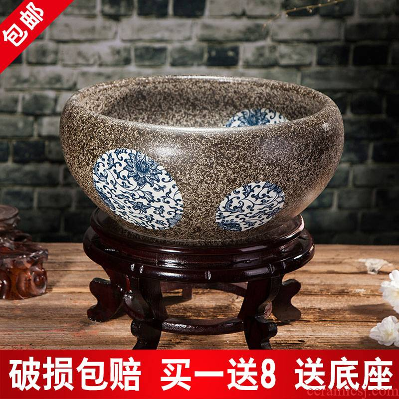 Jingdezhen ceramic aquarium package mail hand - made desktop furnishing articles large turtle pond lily goldfish bowl lotus feng shui basin