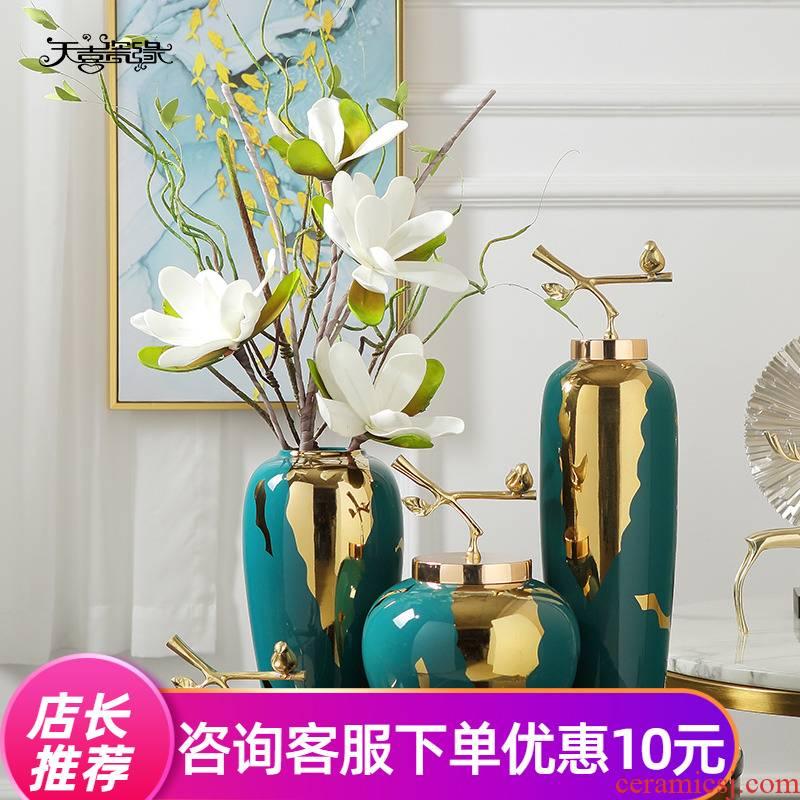 Light vase key-2 luxury furnishing articles American household dry flower, flower decoration of new Chinese style living room TV ark, ceramic European - style ornaments
