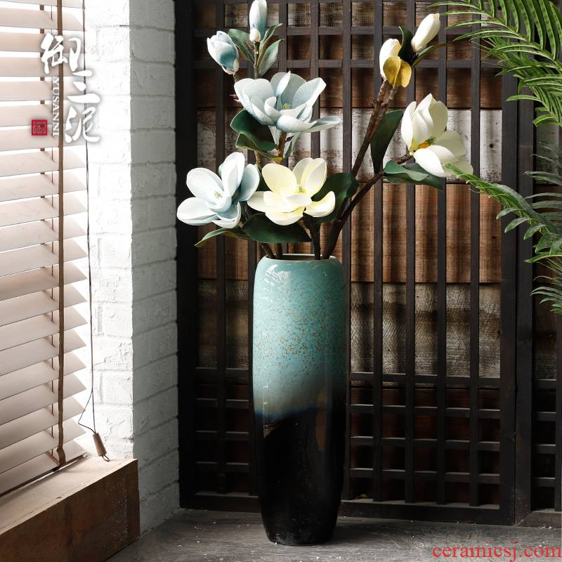 Jingdezhen ceramic floor big vase prosperous European I and contracted bamboo hydroponic flower arranging the sitting room porch ark, furnishing articles