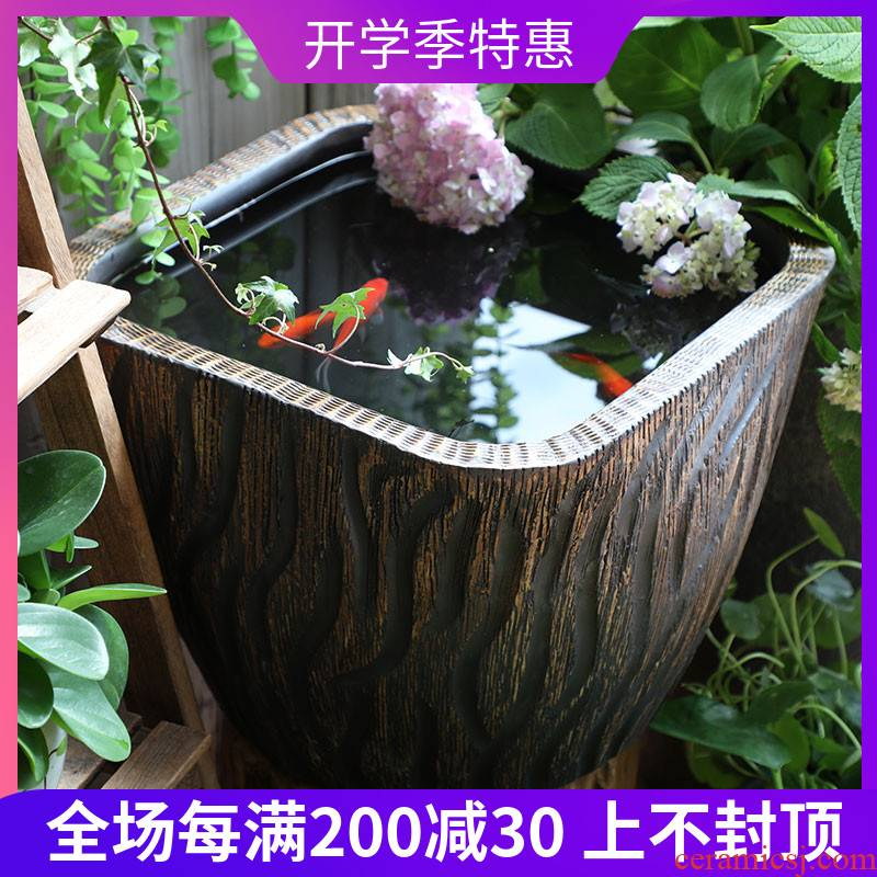 Jingdezhen stoneware big fish tank water lily bowl lotus cylinder cylinder tank tortoise goldfish bowl lotus basin water furnishing articles