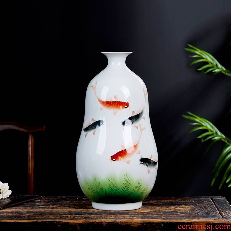 Jingdezhen ceramics masters hand - made vases, flower arranging living room TV cabinet decoration of Chinese style household furnishing articles