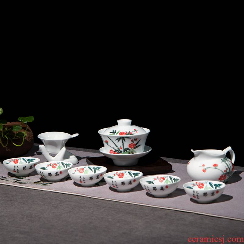 Next thousand red up with glaze color kung fu tea set home six small set of simple ceramic hand - made the name plum and the bamboo tureen tea cups