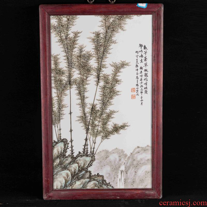 Pastel peace porcelain plate painting bamboo