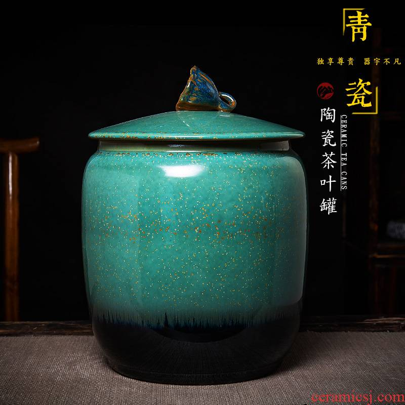 Jingdezhen ceramic tea pot up sealing a large storage tank manual seven loaves barrels of pu tube with cover large capacity
