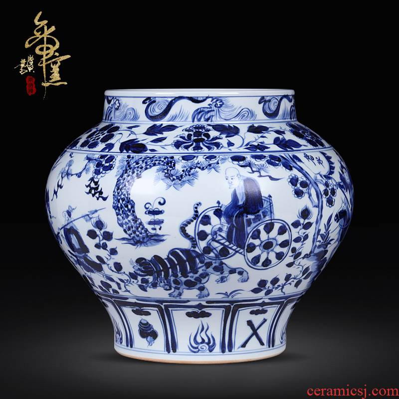 Archaize of jingdezhen ceramics up yuan blue and white hand draw new Chinese style classical vase sitting room decorates porch place
