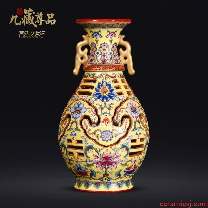 Jingdezhen ceramic hand - made this revolving up enamel see colour yellow to heaven and bottles of antique vase crafts