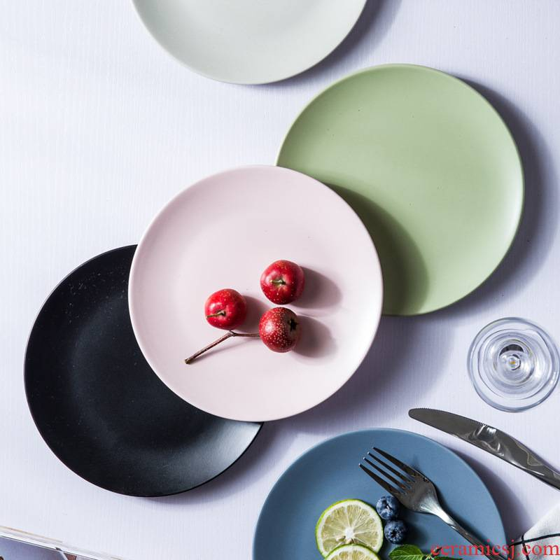 Take a dumb son disc ceramic western - style food dish dish dish dish household Japanese beef dish plates grind arenaceous size plate