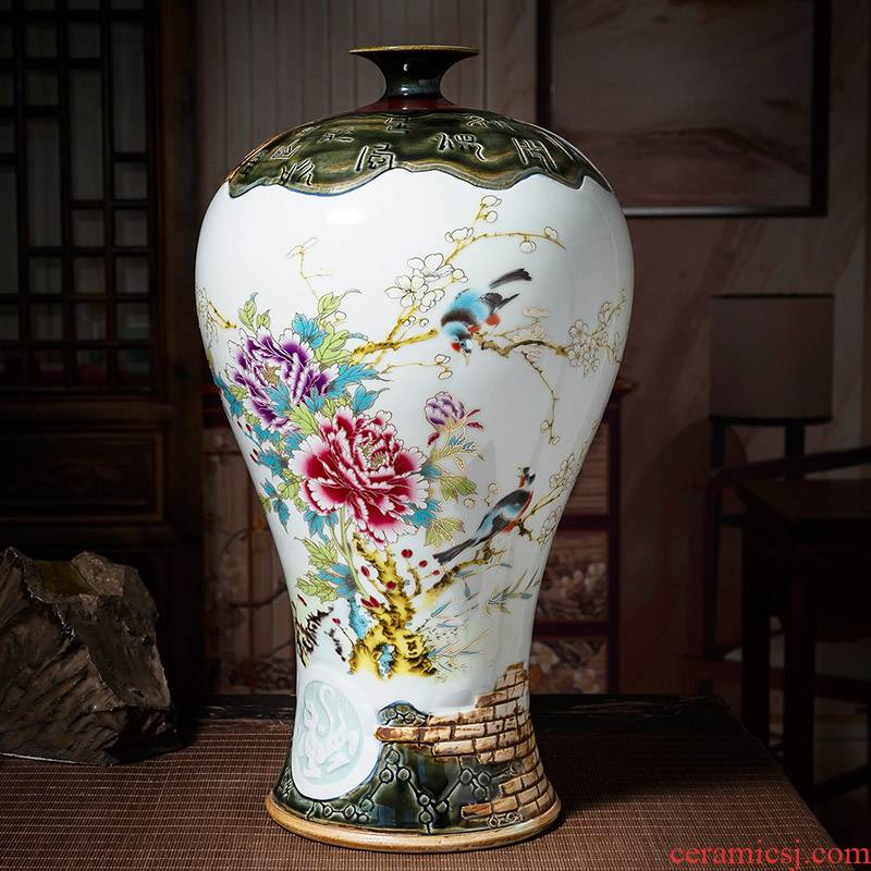 Hand pastel up with jingdezhen ceramic vases, the study of modern Chinese style of the sitting room porch decoration handicraft furnishing articles