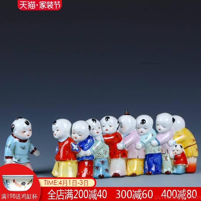 Jingdezhen porcelain dolls small creative home furnishing articles express character its sitting room decorates classic rural desktop