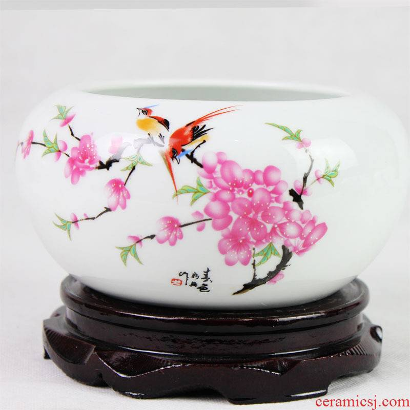 Jingdezhen ceramics peach blossom put water point little gold fish tank water lily bowl lotus cylinder cylinder writing brush washer tortoise furnishing articles c161