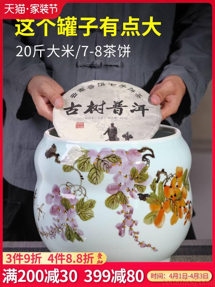 Jingdezhen porcelain ceramic seal pot large household pu - erh tea and tea caddy fixings storage tanks with cover savings pot