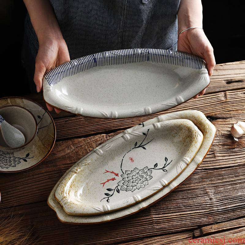 Japanese fish dish household food dish tableware large new creative steamed fish dish plate of individual character dining - room ltd. ceramic disk
