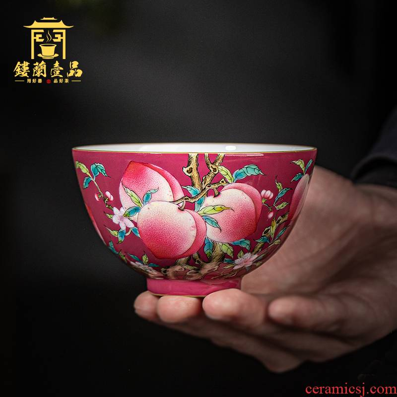 Jingdezhen ceramic all hand - made carmine says peach tea masters cup size bowl of kung fu tea set personal single CPU