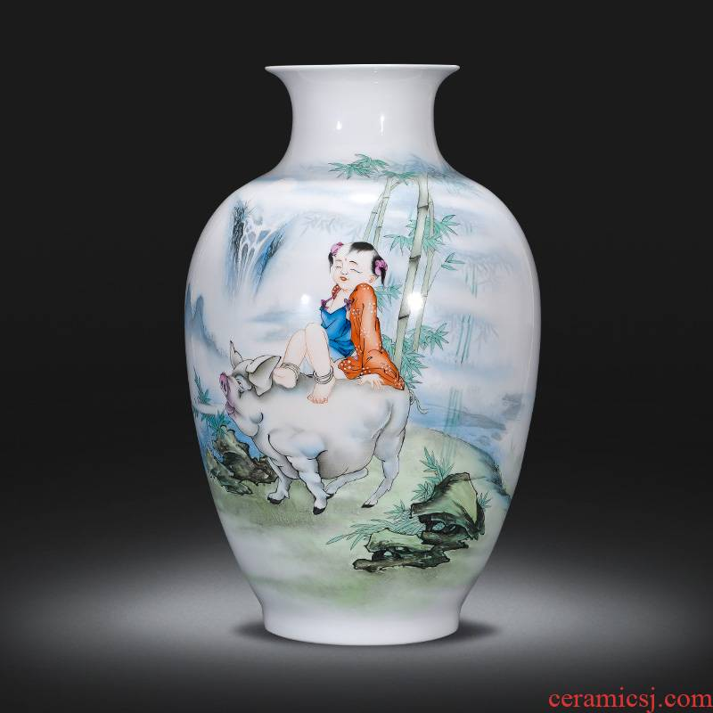 Famous master of jingdezhen ceramics hand - made pastel dried flower vase planting place, sitting room of Chinese style household ornaments