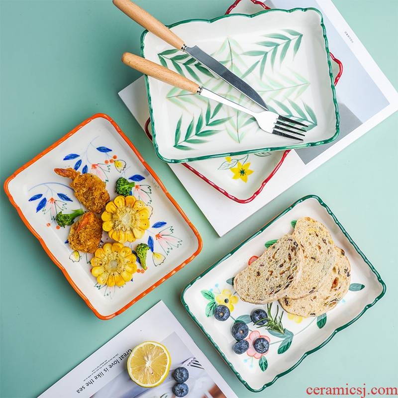 Home baking pan ceramic dish dish creative rectangle plate microwave oven baked cheese baked rice bowl is special
