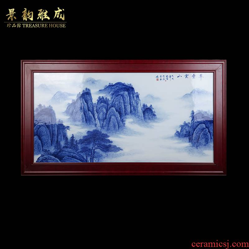 I and contracted hand - made cui a fold yunshan jingdezhen ceramics porcelain plate painting the living room sofa setting wall decoration