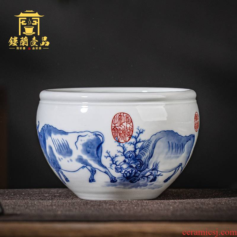Jingdezhen ceramic pure hand - made five NiuTu large blue and white tea to wash tea accessories for wash bowl with writing brush washer water jar