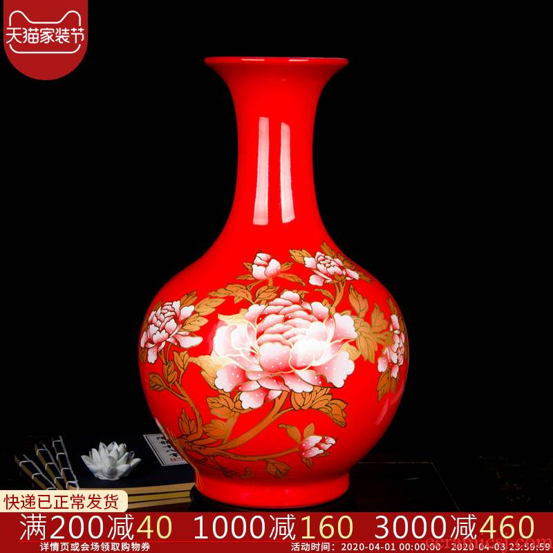 Cb94 jingdezhen ceramics China red vases, flower arrangement sitting room of Chinese style household furnishing articles large decorative arts and crafts