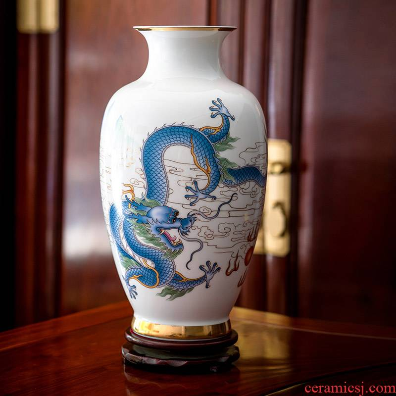 Jingdezhen ceramics vase famous master hand draw pastel in extremely good fortune of the sitting room adornment of new Chinese style furnishing articles