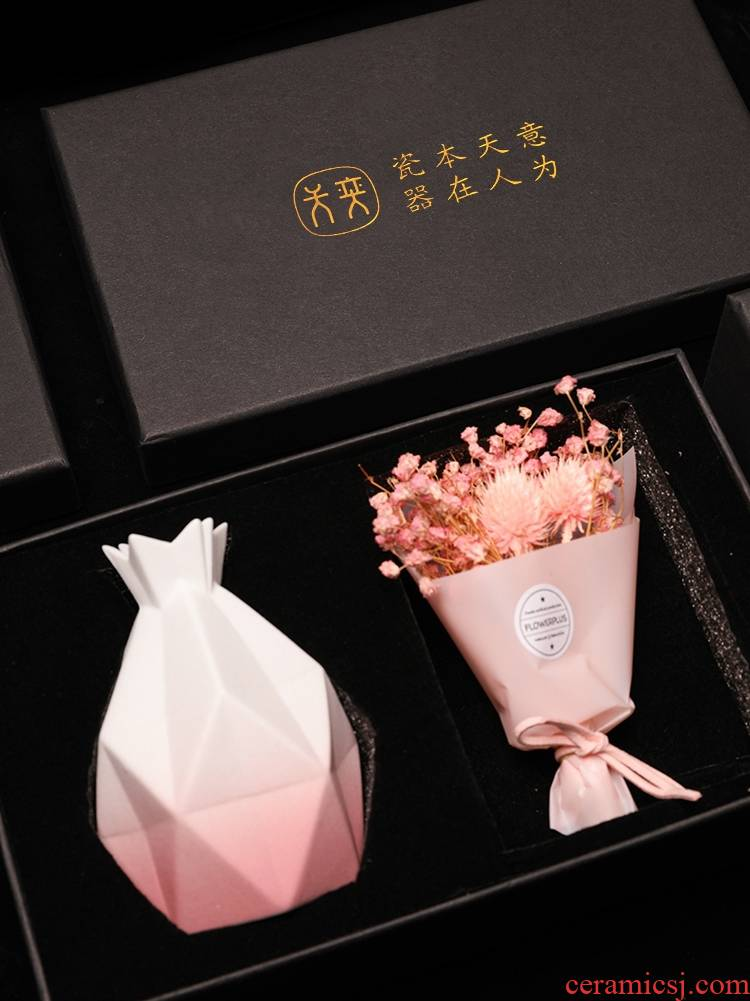 Wilson of day living flower ceramic vase combination the girlfriend gifts gift mom high - grade practical creative gift box