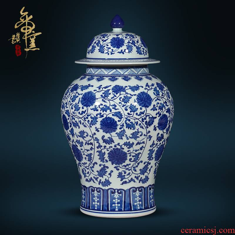 Jingdezhen ceramics antique hand - made general blue and white porcelain jar of new Chinese style living room TV cabinet porch is decorated furnishing articles