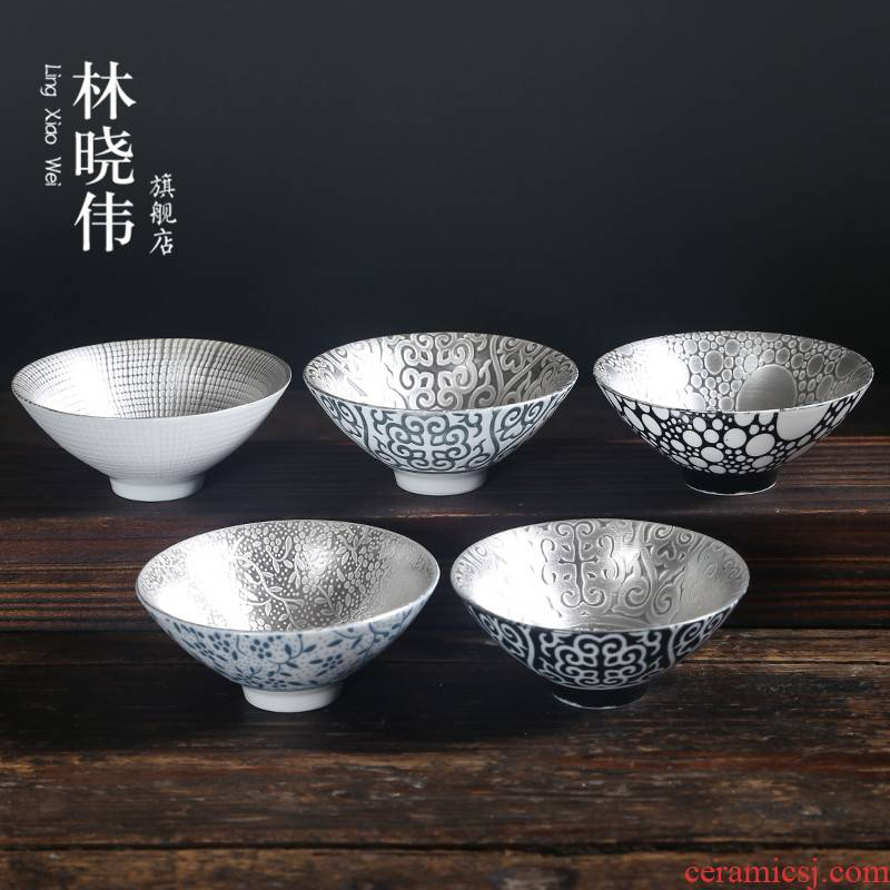 999 sterling silver, kung fu tea tasted silver gilding of blue and white porcelain ceramic cup sample tea cup master cup single cup light bowl