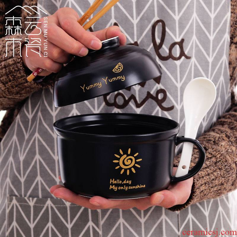 Ceramic lunch box lunch box can be microwave students job bowls noodles cup bowl with cover cup with the soup bowl chopsticks