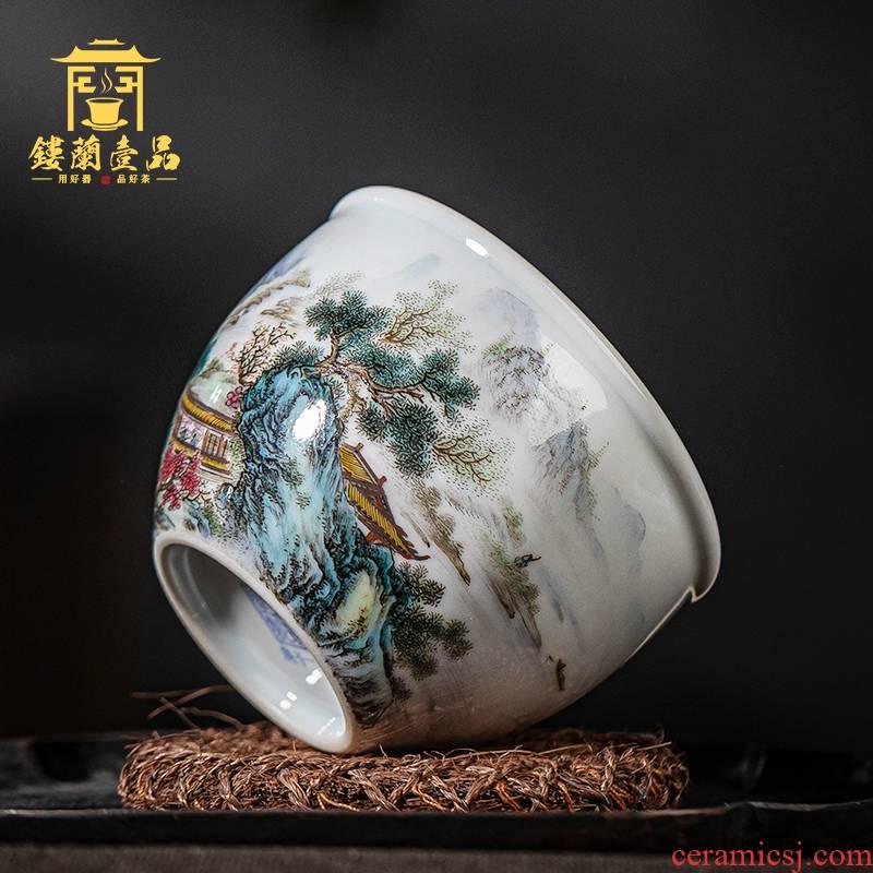 Jingdezhen ceramic checking pastel landscape figure cylinder cup master single cup large tea cup kung fu tea sample tea cup