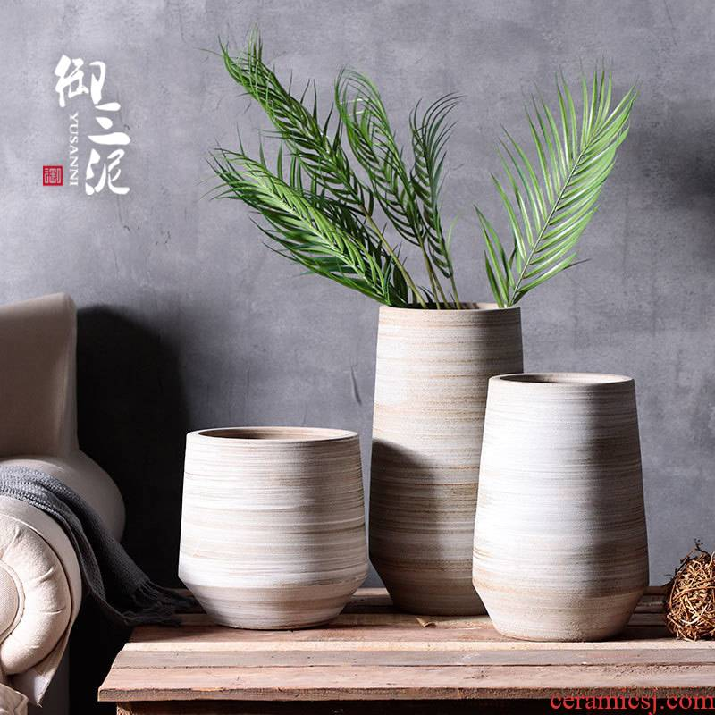 Restore ancient ways of literature and art ceramic dry flower vase Nordic contracted Japanese small and pure and fresh flower arrangement sitting room decoration ceramics furnishing articles