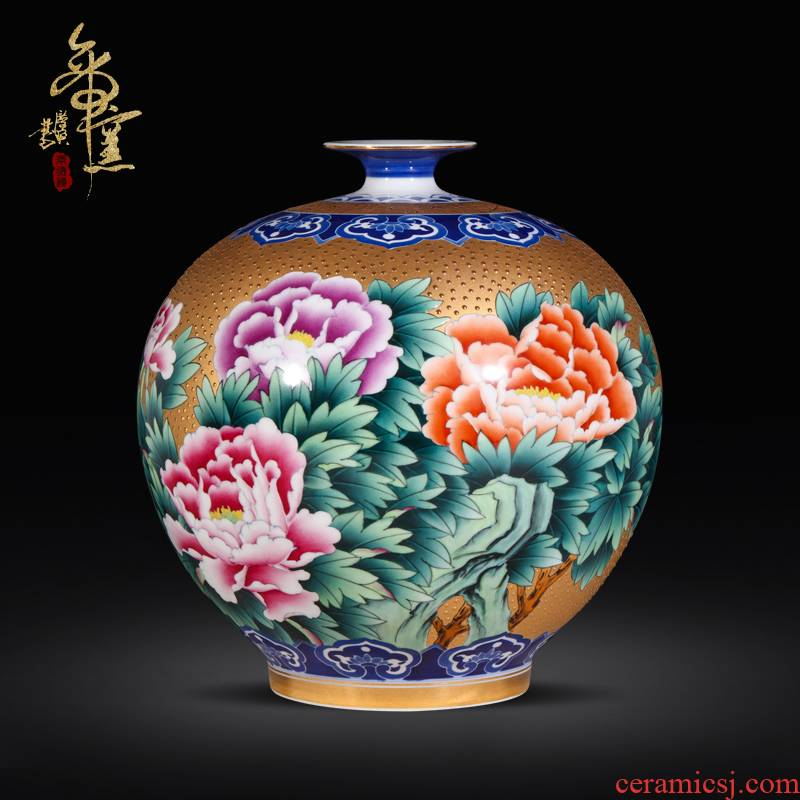 Jingdezhen ceramic hand - made with gold, decorated the open wealth vase modern fashionable sitting room adornment aristocratic wind furnishing articles