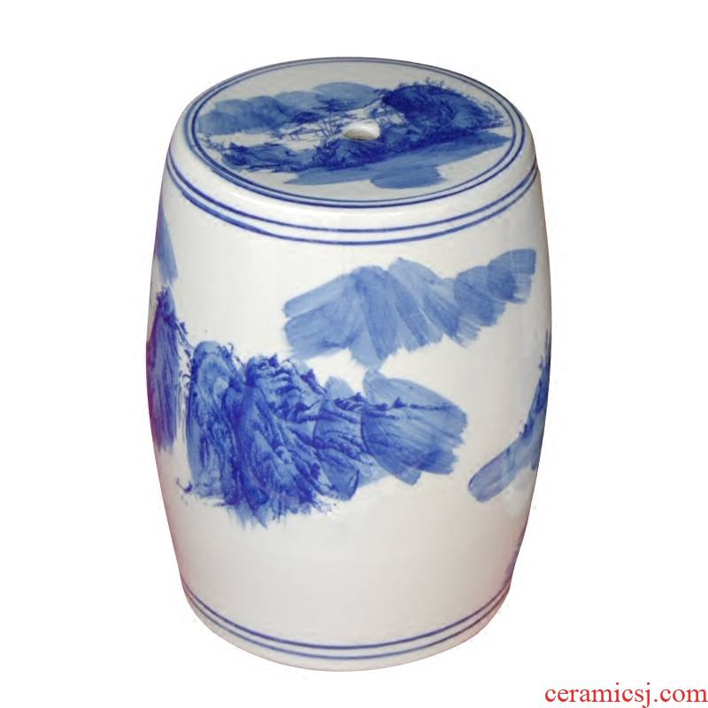 Ceramic hand made blue and white porcelain in shoes who drum who toilet who the new Chinese style of the ancients pier sit mound low who who L1