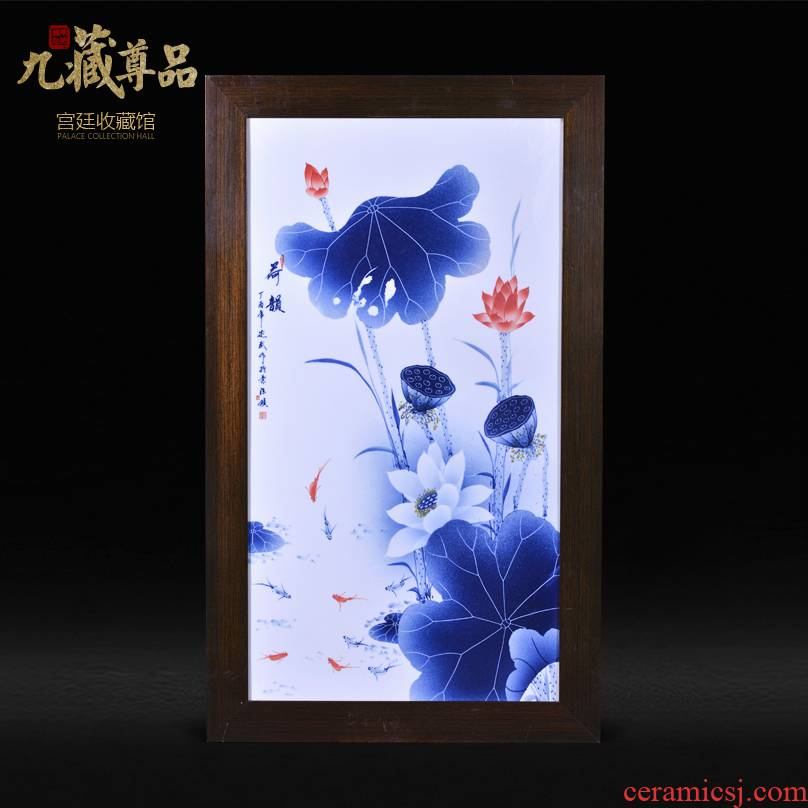 Jingdezhen ceramics Liu Shuwu hand - made lotus rhyme adornment porcelain plate paintings of Chinese style household crafts