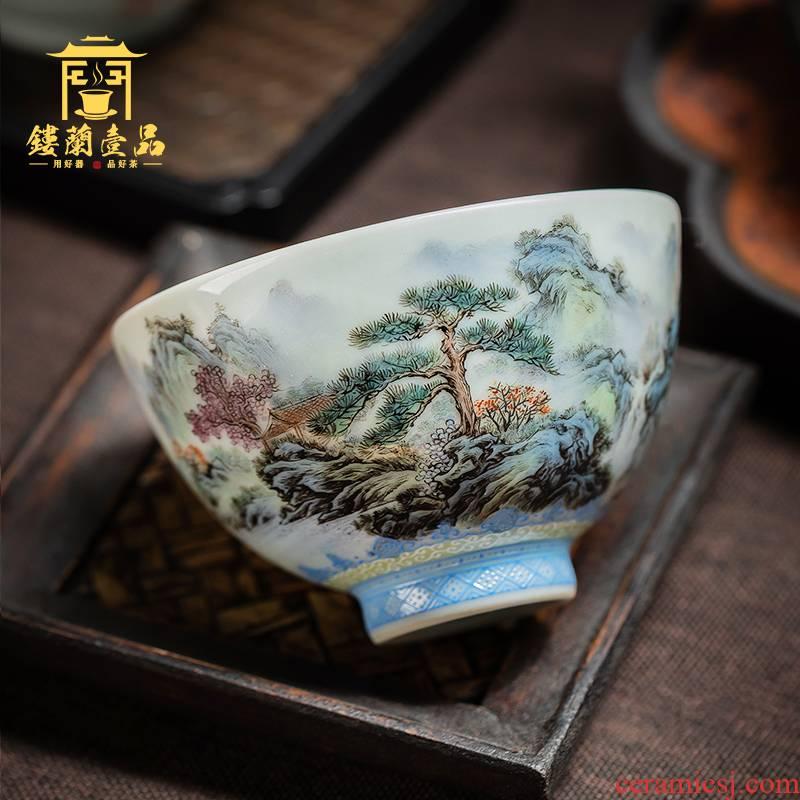 Jingdezhen hand - made pastel landscape heart cup cup master cup kung fu tea tea cup sample tea cup, bowl