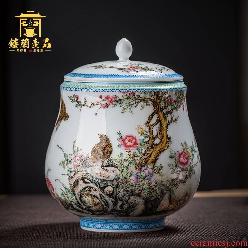 Jingdezhen ceramics all hand powder enamel tea pot large pu - erh tea tea box storehouse