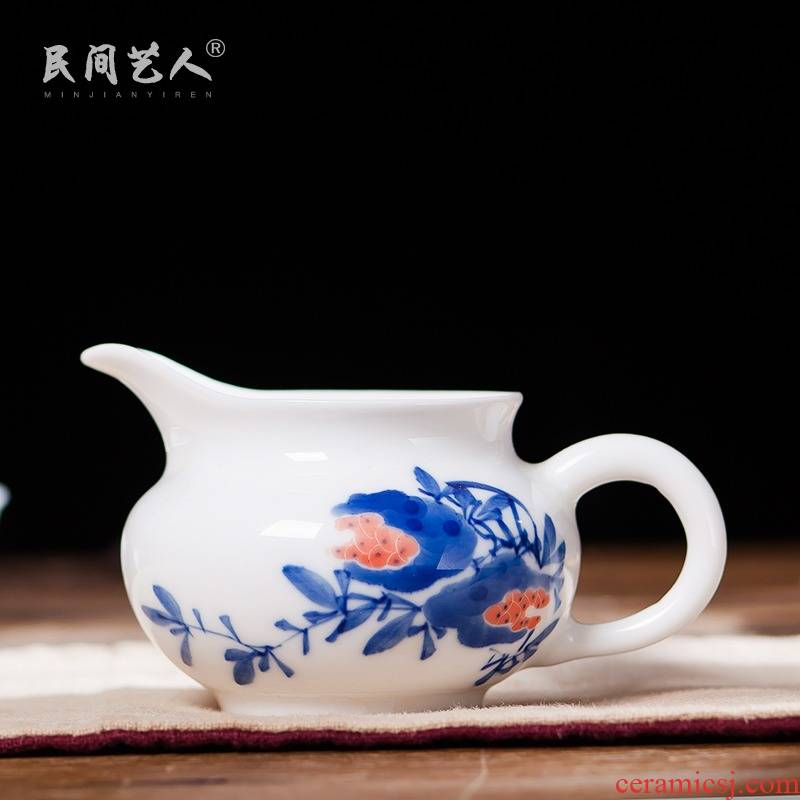 Hand - made ceramic fair cup of tea ware jingdezhen blue and white porcelain tea sea points male cup and cup, kung fu tea accessories