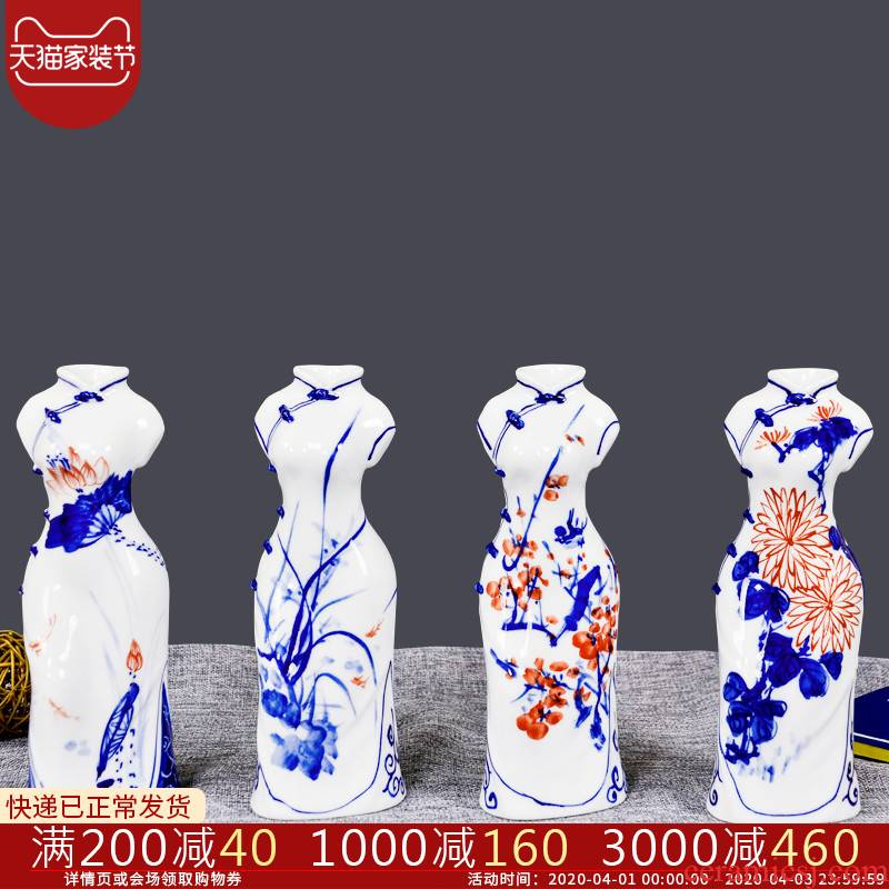 Cb38 jingdezhen ceramics creative cheongsam beauty of blue and white porcelain vases, flower arrangement sitting room adornment handicraft furnishing articles