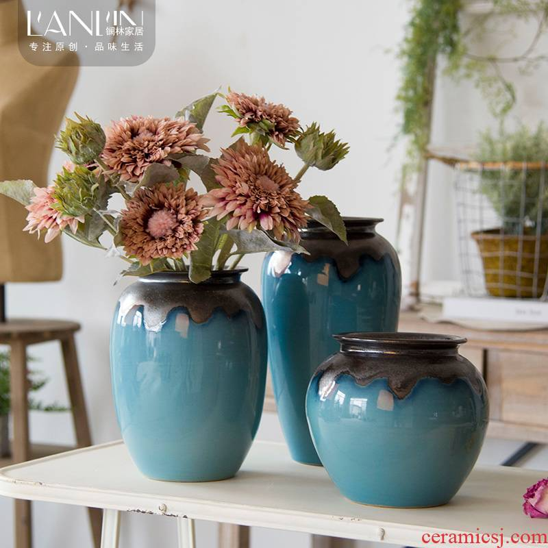 I and contracted mesa vase sitting room dry flower arranging flowers, flower implement fleshy flower pot American ceramic Nordic furnishing articles, restoring ancient ways